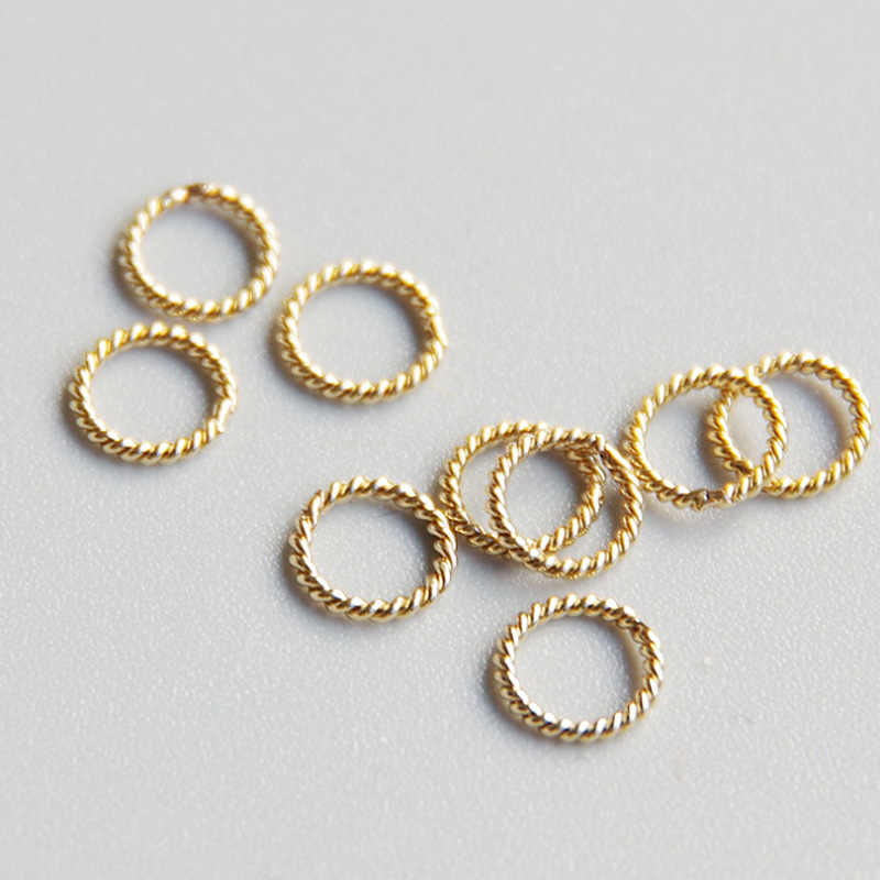 Gold filled Twist Jump Rings & Split Rings round connector Rings Close For Making Jewelry Accessories DIY Findings 4-10mm 10pcs
