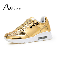 AGSan men winter plush casual shoes ladies gold shoes unisex silver glitter sequins footwear lace up male female shoes