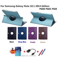 360 Giratoria de LA PU casos de Cuero cubierta para Samsung Galaxy Note 10.1 2014 Edición P600 P601 P605 con función de soporte de Tabletas cubierta