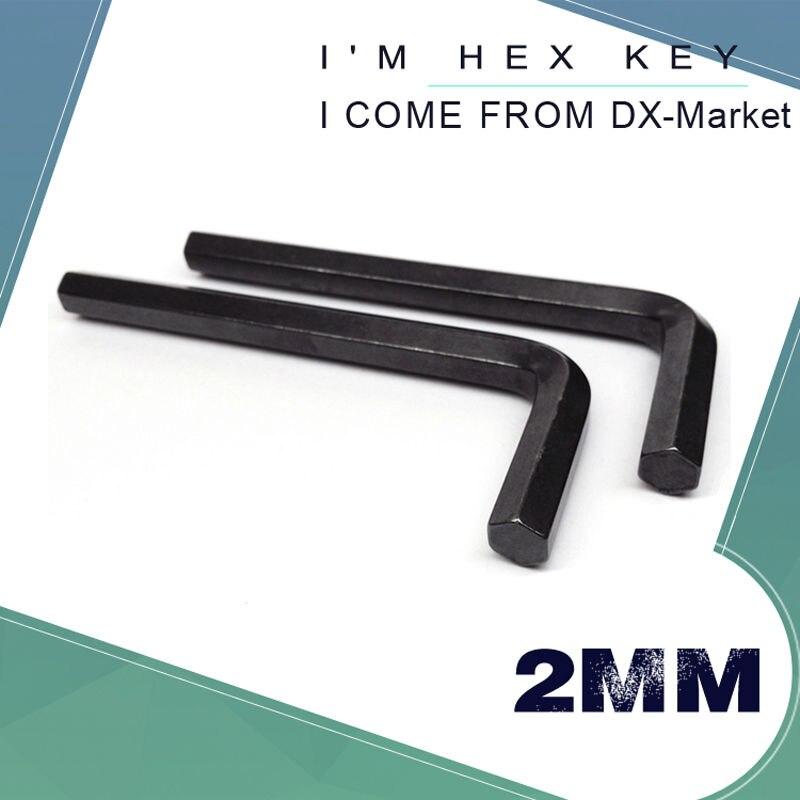 Cheie hexonală de 2 mm, 100 buc, cheie hexagonală, cheie Allen 2mm 45 # Oțel, cheie DIY neagră, unealtă de duritate ridicată