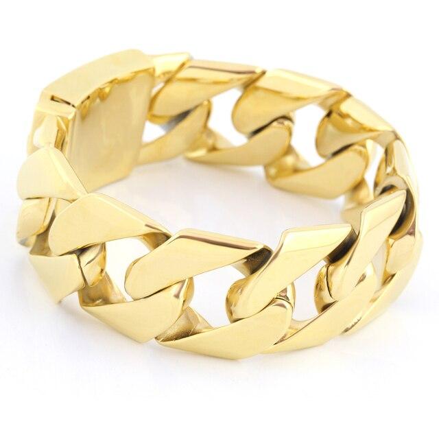54f1c123c99 Grande Dourada Pulseira de Ouro Grosso Pesado Curb Cuban Link Pulseira de  Aço Inoxidável Moda mens
