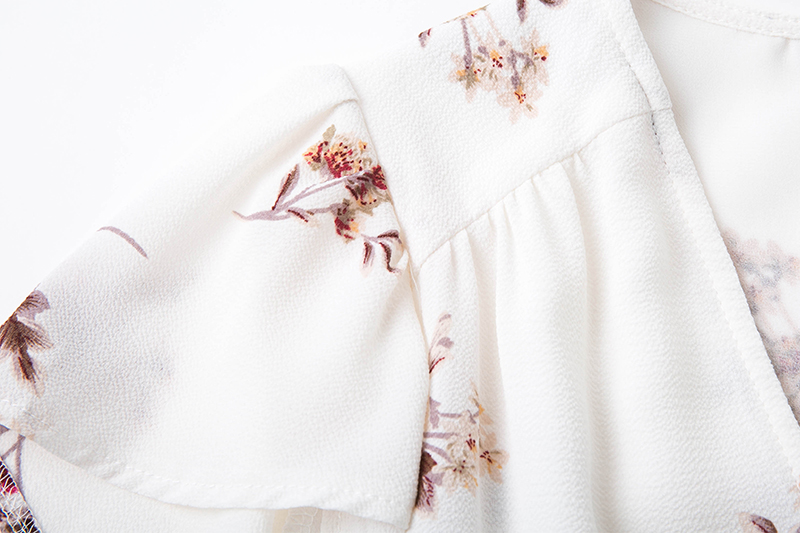 BONGOR LUSS Women Summer Dress 2017 V-Neck Cape Short Sleeve Casual Mini Dress Boho Beach Vinatge Floral Print Dress Sundress (2)