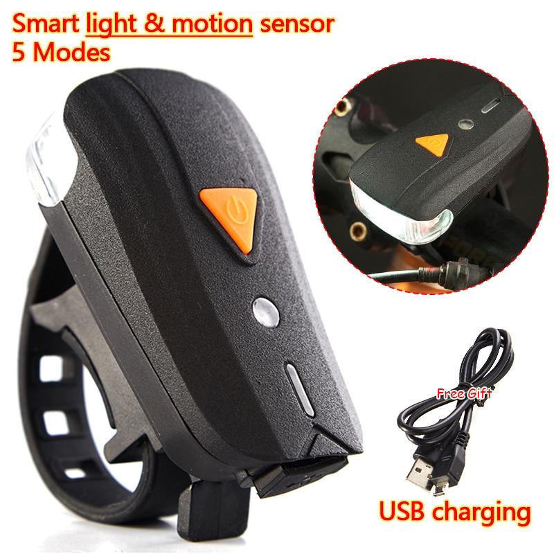 2000LM CREE XPG Smart Sensor Light Motion Induction Bike Bicycle Cycling USB rechargeable Handlebar red LED Flashlight 30