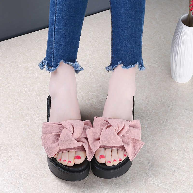Большой бант-бабочка; женская Пляжные сланцы; Летние Нескользящие сандалии босоножки, сандалии на платформе Размер 35-41; Цвета: черный, розовый красный зеленый