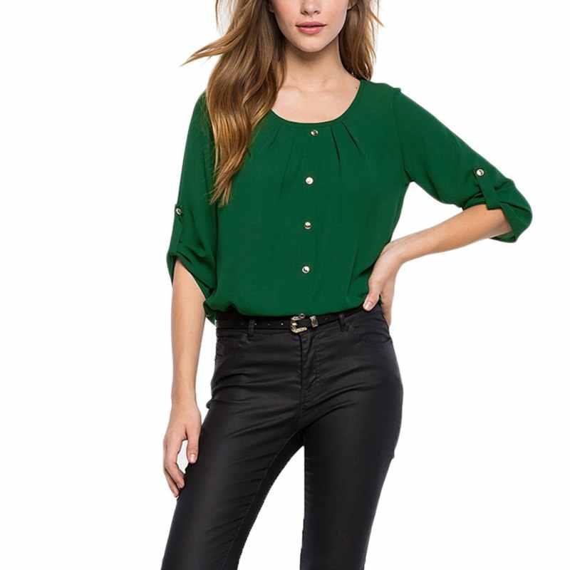 สีเขียวสีเหลืองผู้หญิงเสื้อชีฟอง Blusas Femininas Tops สุภาพสตรีเสื้อสำนักงานอย่างเป็นทางการ Plus ขนาด O คอเสื้อผู้หญิง