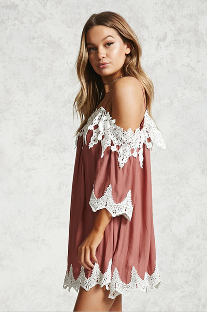 Luoanyfash Women Beach Dress 2018 Summer Y Strap Lace Embroidered Crochet Dresses Hippie Boho