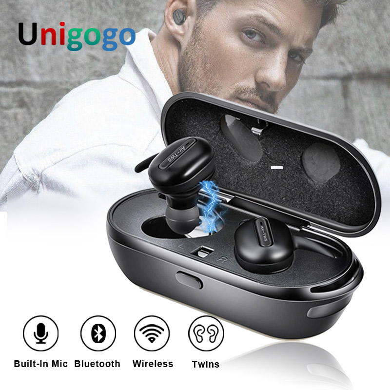 Handsfree Style Headsets Mini TWINS Wireless Music Earbuds TWS Earphones Super Stereo Bluetooth Headphones with Mic Charging Box цена