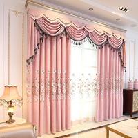 Custom curtains European livingroom cotton pink Emboss embroidered bedroom blackout curtain tulle valance drape M694