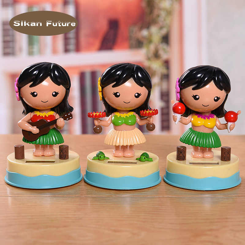 Car decoration solar energy shaking head cartoon Saipan girl car dashboard decoration lovely auto accessories decorative gifts.