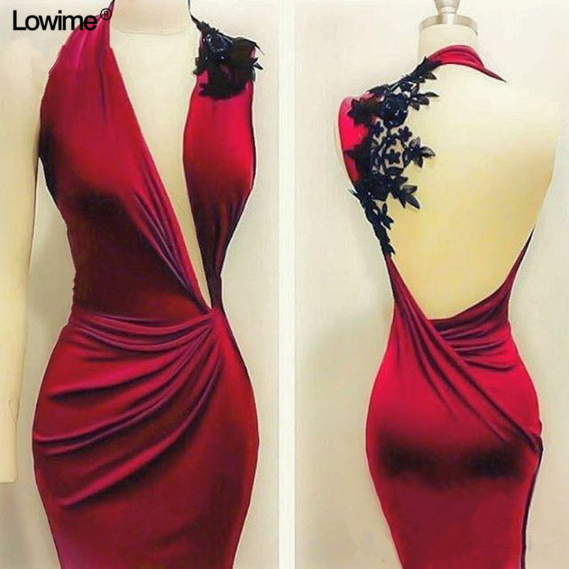 Free Shipping Cheap Red Evening Dresses Mermaid Sexy V Neck Backless Long Evening Prom Party Gowns