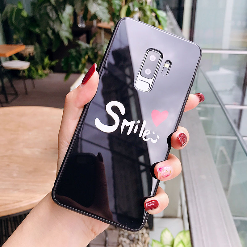 High Quality Tempered Glass Smile Couple Phone Case For Samsung S9 Plus Glossy Mirror Phone Cover For Samsung S9 plus