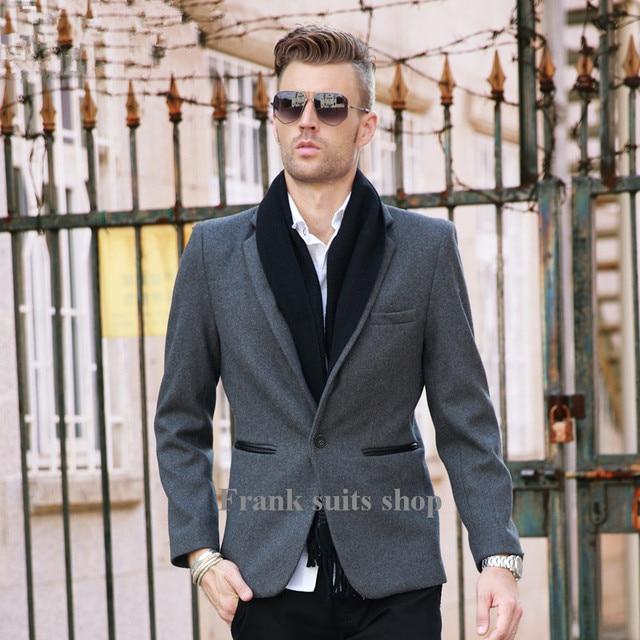 Por encargo traje masculino ocasional da vuelta-abajo prendas de vestir exteriores de abrigo de lana de lana del diseño corto ocasional de la capa
