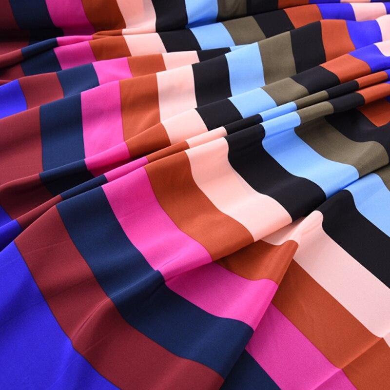 140CM Wide 16MM Colorful Stripe Print Silk Crepe De Chine Fabric for Summer Dress Shirt Cheongsam