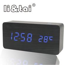 NEW Wooden LED Alarm Clock Temperature Acoustic Control Sensing Calendar USB Display Electronic Desktop Digital Table Clocks