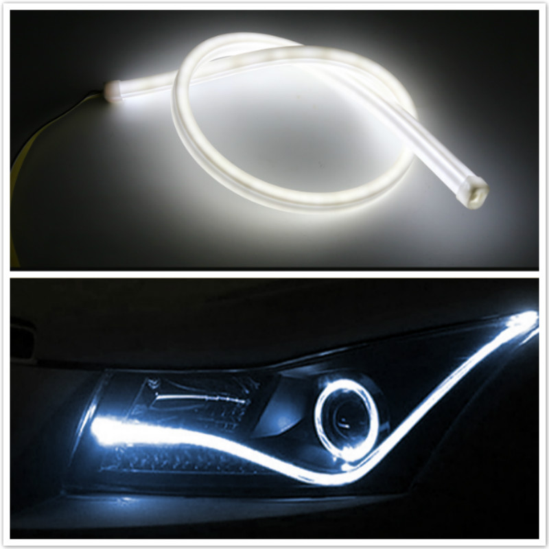 2x45/60CM Soft LED DRL Lamp For Mercedes Benz W211 W203 W204 W210 W205 W212 W220 W221 W163 W164 C180 C200 AMG C E SLK GLK CLS M 1998 2005 year for mercedes benz w163 ml320 ml350 ml430 ml450 head lamp silver lf