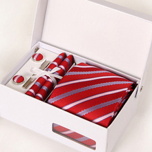 leisure man red interview neckwear male mariage necktie formal business kravat gent striped wedding cufflink hanky neck tie set