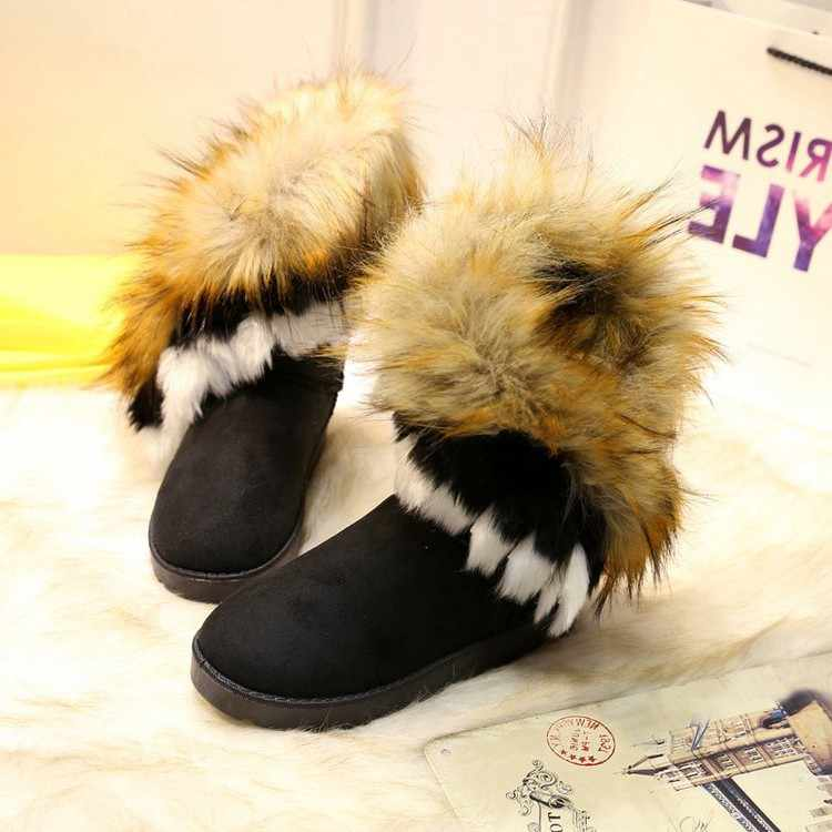 Women Flat Ankle Snow Boots Fur Boots Winter Warm Snow Shoes Round-toe Female Flock Leather Women Shoes