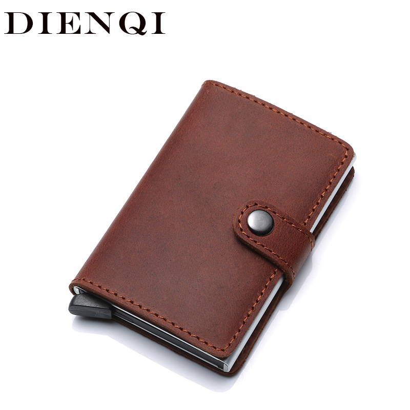 Genuine Leather Credit Card Holder Case Anti Rfid Protector Wallet Aluminum Men Women Vintage Metal Bank Business id Card Holder genuine cow leather business card holder bank credit card id holder men wallet card case protector name bank credit card wallet