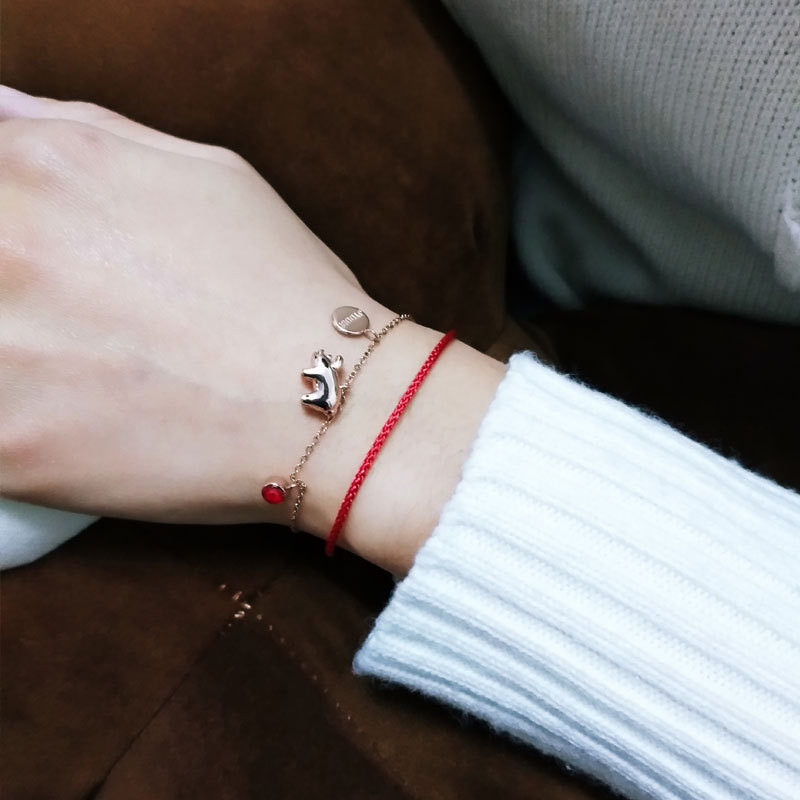 925 sterling silver Hand catenary pig red rope Personality trend everyone Women 39 s fashion jewelry in Chain amp Link Bracelets from Jewelry amp Accessories