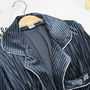 Image 2 - Daeyard Women Luxury Velvet Sleepwear Pajamas Autumn Winter Fashion Striped Pajama Set Caimi Pants & Robes 3Pcs Nightie Homewear