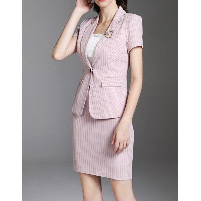 Personnalisé multi Bande Travail Nouvelle Costume Rose Ensemble Jupe Rose Bureau Veste Vêtements Dames De Belle jupe ffqZPx