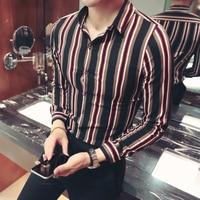 pattern stripe dress shirt men plus size korean fashion 4xl 5xl button down long sleeve business casual camisa social masculina
