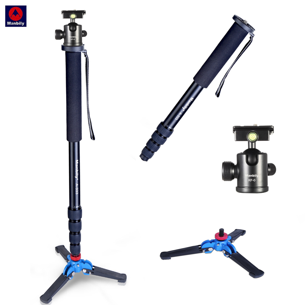 Manbily A 333 high quality Aluminum alloy photography monopod stand with mini tripod base desktop tripod & ball head-in Tripods from Consumer Electronics