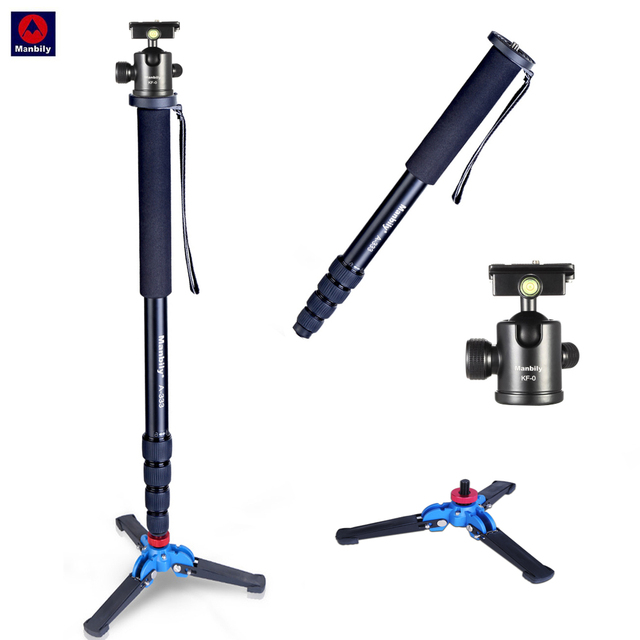 Manbily A 333 high quality Aluminum alloy photography monopod stand with mini tripod base desktop tripod & ball head