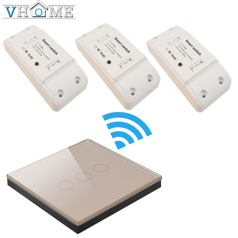 VHome gold touch wireless remote control panel 433mhz1 RF receiver 170v-250v relay channel wall lamp 5A transmitter controller m3 m4 5a m3 touch rf remote with m4 5a cv receiver led dimmer controller dc5v dc24v input 5a 4ch max 20a output