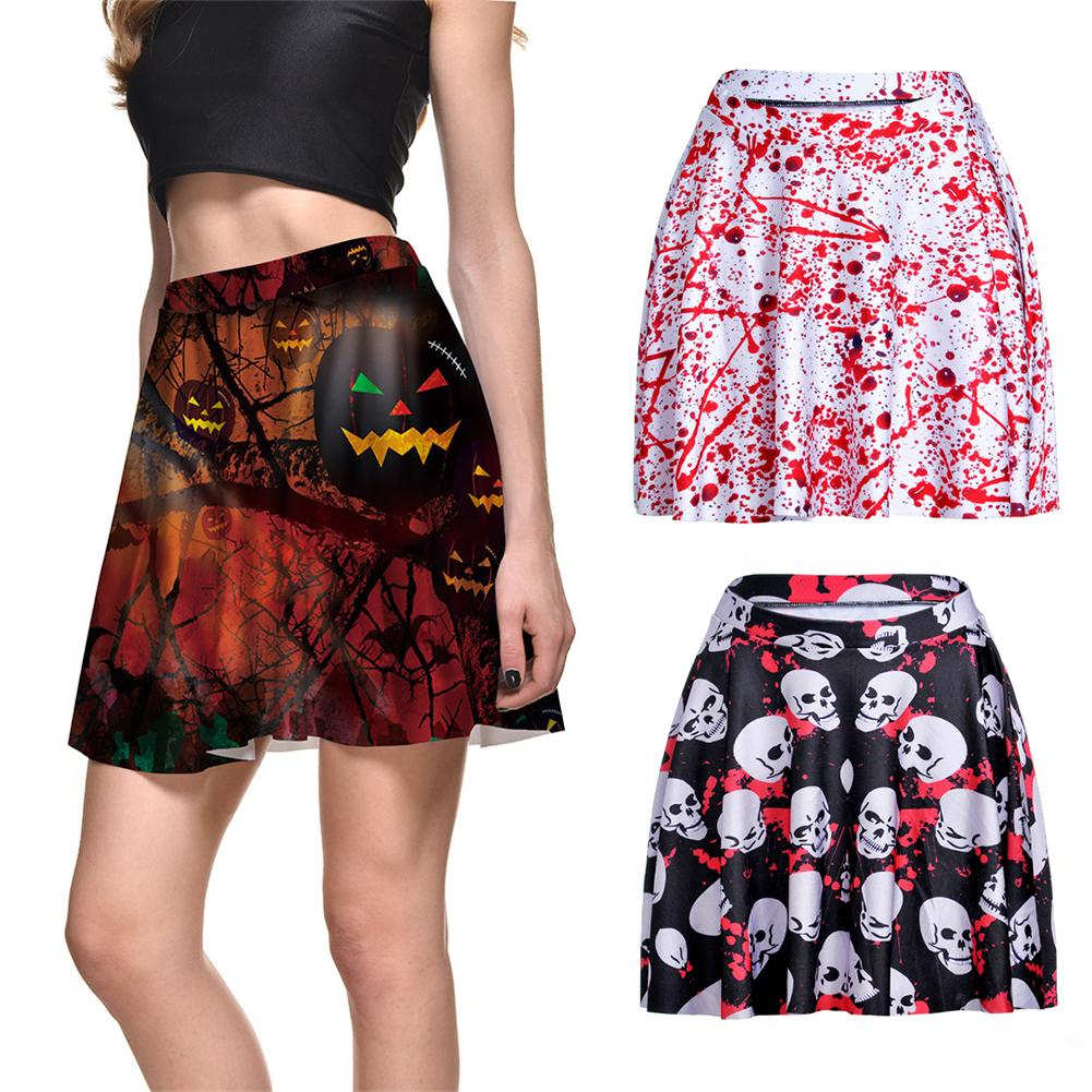 Gothic Pumpkin White Skulls Print Sexy Skirt Punk Female Short Skirts Fashion Mini Skirt Halloween Party Skater Skirt Harajuku
