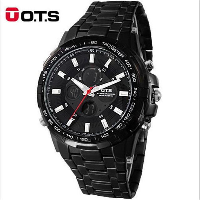 OTS 2017 Luxury Brand Watch Men Business Casual Wristwatch Full Steel Military Sport relogios masculinos Digital Quartz Watches