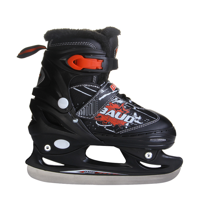 Kids Children Professional Adjustable Thermal Warm Thicken Ice Figure Skating Shoes With Ice Blade  PVC Waterproof Patines professional 7005 series aluminum tube short track ice blade 16in 64hrc high quality ice skate shoes knife 1 1mm thickness frame