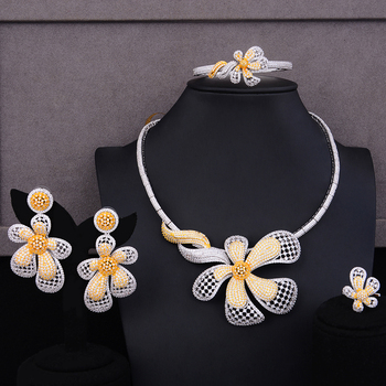 missvikki Romantic Trendy Big Flower Pendant Necklace+Bangle+Earrings+Ring Jewelry Set for Bridal Wedding Woman Show Jewelry