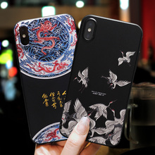 IMIDO 3D Vintage Dragon Phoenix Painted TPU Soft Silicone Cases For iphone 6/7/8/X Anti-fall Lanyard Fashion Back Cover