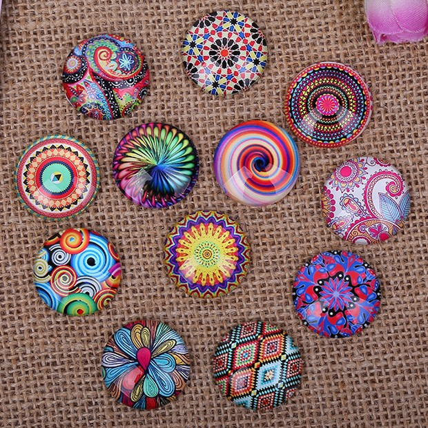 12pcs 20mm 30mm Colorful Flowers Round Handmade Photo Glass Cabochons & Glass Dome Cover Pendant Cameo Settings