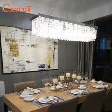 LED Modern Rectangular Crystal Chandelier Light Fixture pendant Hanging lamp for Parlor Dining Room Restaurant Decoration