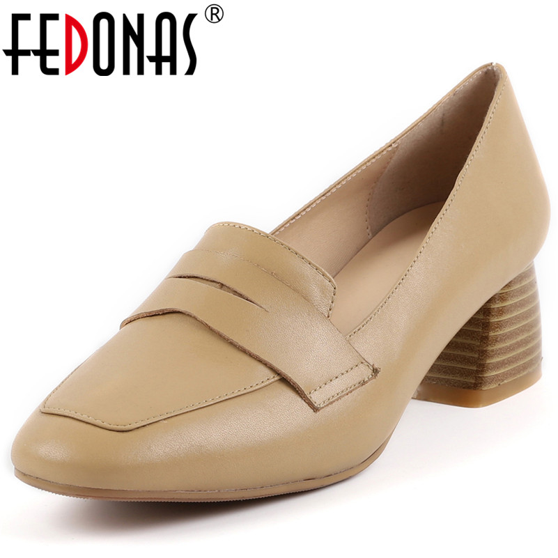 FEDONAS Retro Women Genuine Leather High Heels Spring Summer Comfort Office Pumps Ladies Vintage Basic Pumps