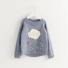 Girls Sweaters 2018 Autumn Children's Sweater For Girls Of 1 to 5 Years Old Cotton knit Cute Cloud Sweater Kids Pullover Toddler(China)
