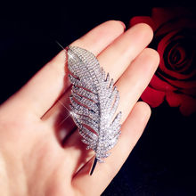 Luxury Brooches For Women Feather Cubic Zirconia Fine Jewelry Romantic Pin Accessories Simple High Quality Boutonniere