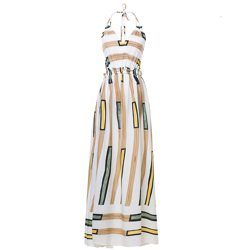 SIX Senses sexy bodycon V neck dress woman party night Geometric print omighty ddlg sweater Beach Bohemia long dress 2019 HM003 in Dresses from Women 39 s Clothing