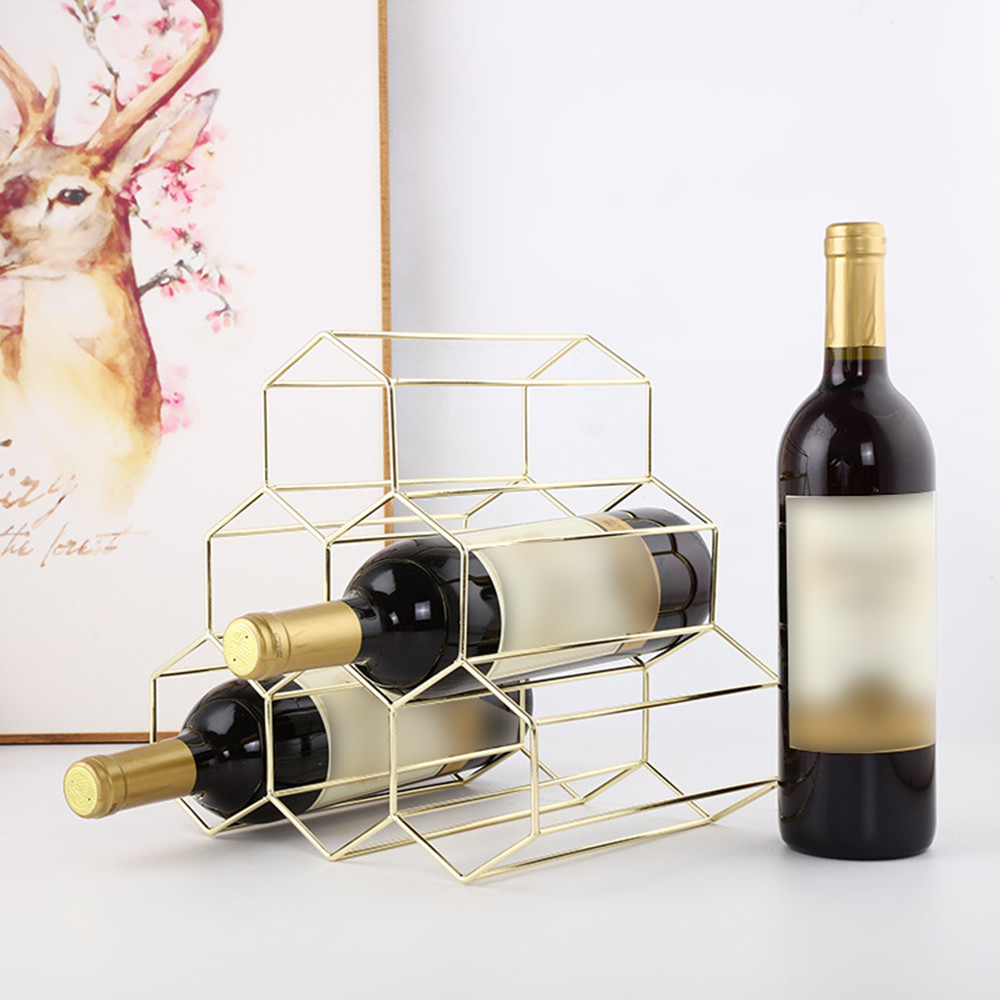 US $13.42 25% OFF|Geometric Iron 6 Grids Wine Bottle Holder Wine Rack  Organizer Kitchen Bar Counter Wine Stand Display Shelf Bottle Holders  S75!!-in ...