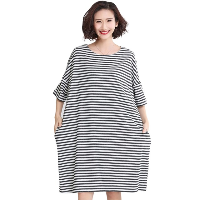 aac4f29a2c0fb 17B66 Women s Summer Casual Black and White Stripes Contrast Color O-Neck Short  Sleeve Pockets Straight T-shirt Dress Oversize