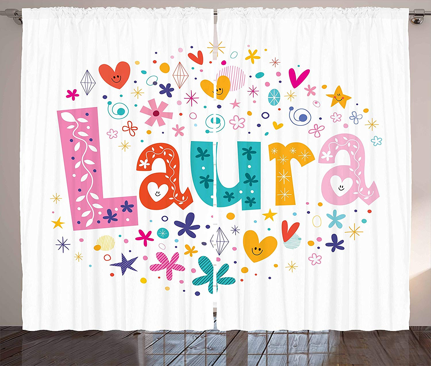 Laura Curtains Baby Girl Name With Vintage Doodle Style Flowers And Stars Colorful Illustration Living Room Bedroom Window
