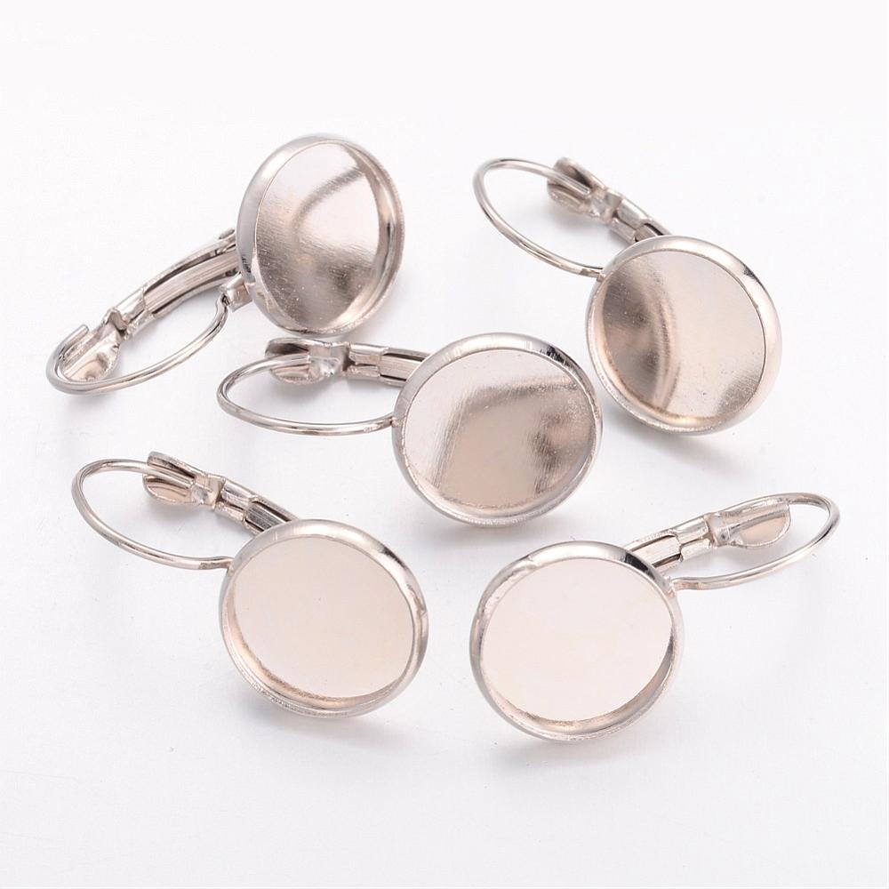 Tray 12mm Brass Lever Back Hoop Earring Components Jewelry Findings for Earring Making Lead Free Cadmium Free Nickel Free