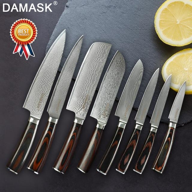 Damasco Profissional VG10 Japonês Aço Damasco Faca Do Chef Santoku de Cortar Corte Aparas Utility Chef de Cozinha Conjuntos de Facas