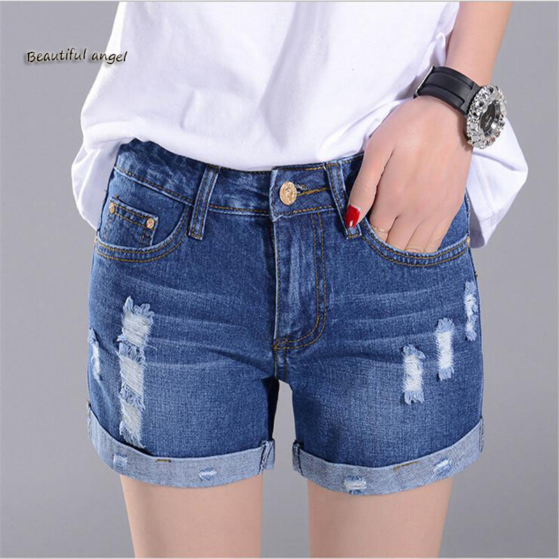 2017 New Womans Shorts Denim Summer Short Feminino Plus Size High Waist Denim Casual Jeans Hole Denim Shorts