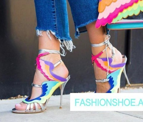2018 New Spring Summer Shoes Woman Tide Sandals High Heels Cross Tied Designer Wings Sandals Woman Slides Leather Woman Shoes new 2017 summer flat sandals sexy pointed toe designer side buckle sandals woman shoes tide brand woman sandals hollow flats