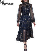 Shiny Golden Stars Moon Mesh Embroidery Runway Dress Fashion See Through Lantern Sleeve Stand Collar Women Party Vintage Dress