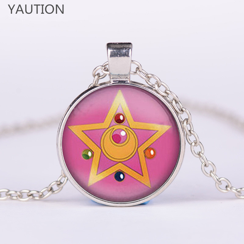 3 Color Fashion Beautiful Girl Warrior Five-Pointed Star Sailor Moon Necklaces & Pendants Glass Dome Long Necklace