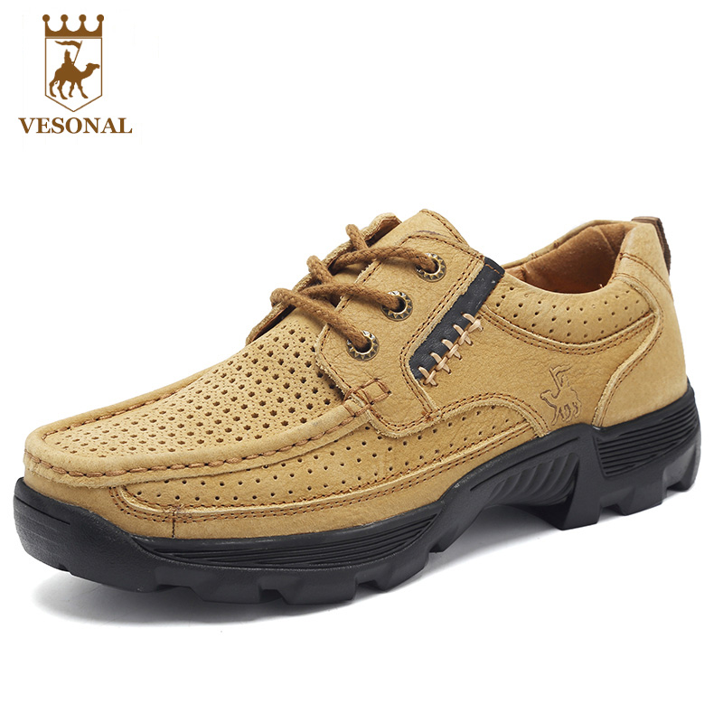 VESONAL Brand Casual Male Shoes Men Adult Spring Autumn 2017 Breathable Comfortable Walking Soft Genuine Leather Man Footwear купить